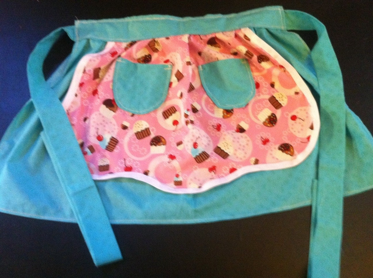 Cupcake half apron vintage style teal and pink extra long ties