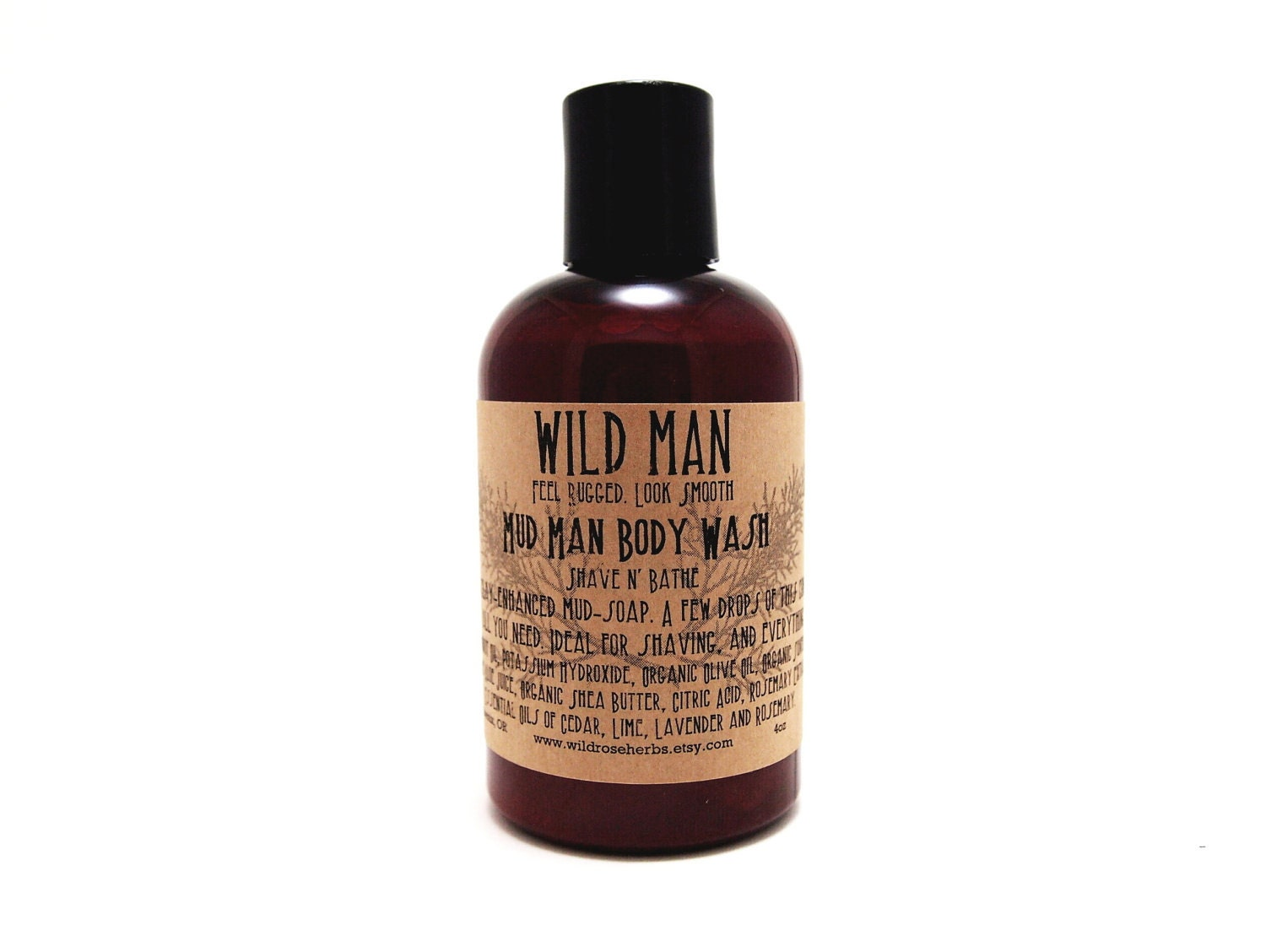 Man Shaving Soap Father's Day Detox Body Wash Clay Soap Wild Man 4oz - WildRoseHerbs