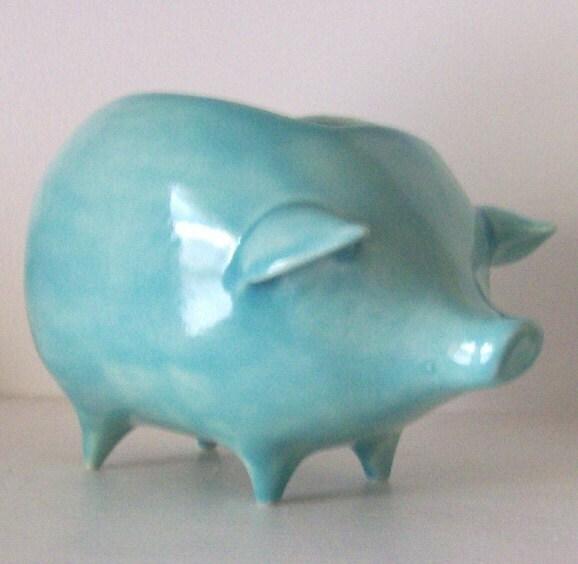Ceramic Pig Planter Vintage Design Aqua Blue, PREORDER