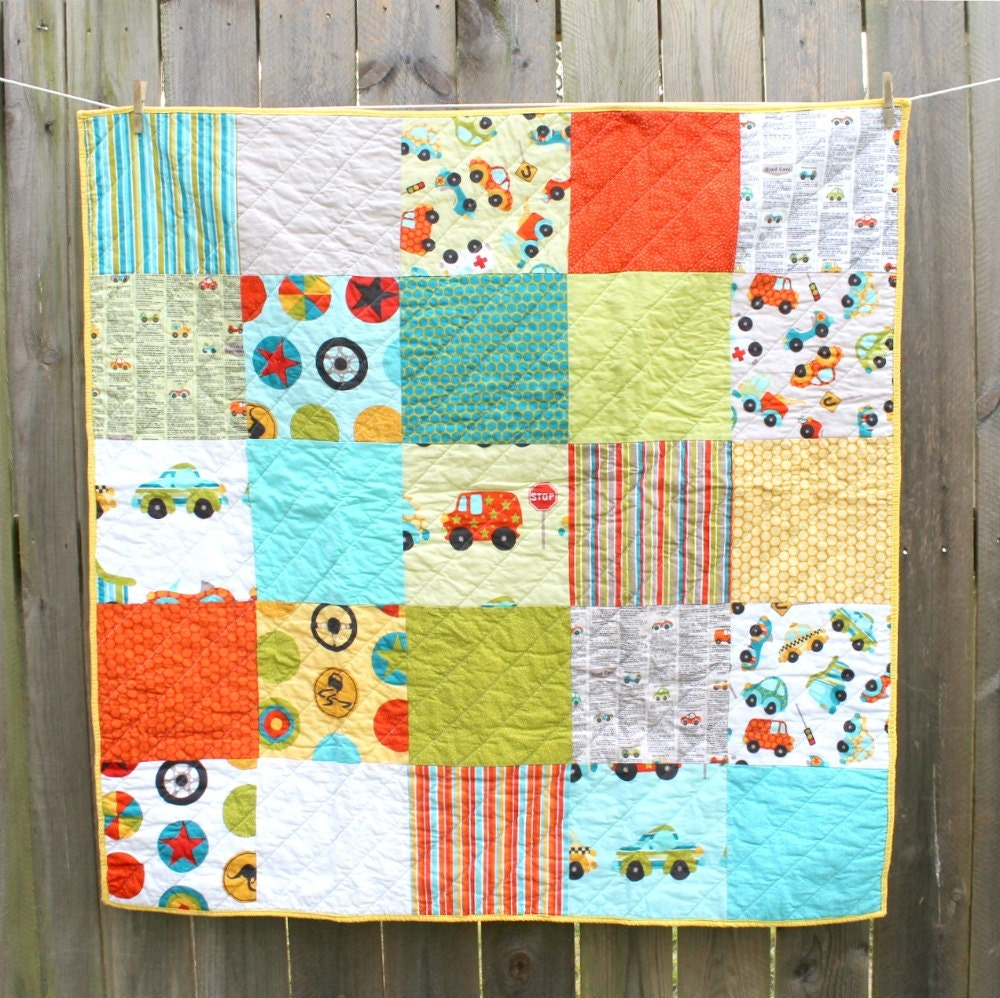 Car Quilt, Peak Hour, Toddler or Baby, Riley Blake, Red Teal Green - DeMossDesigns