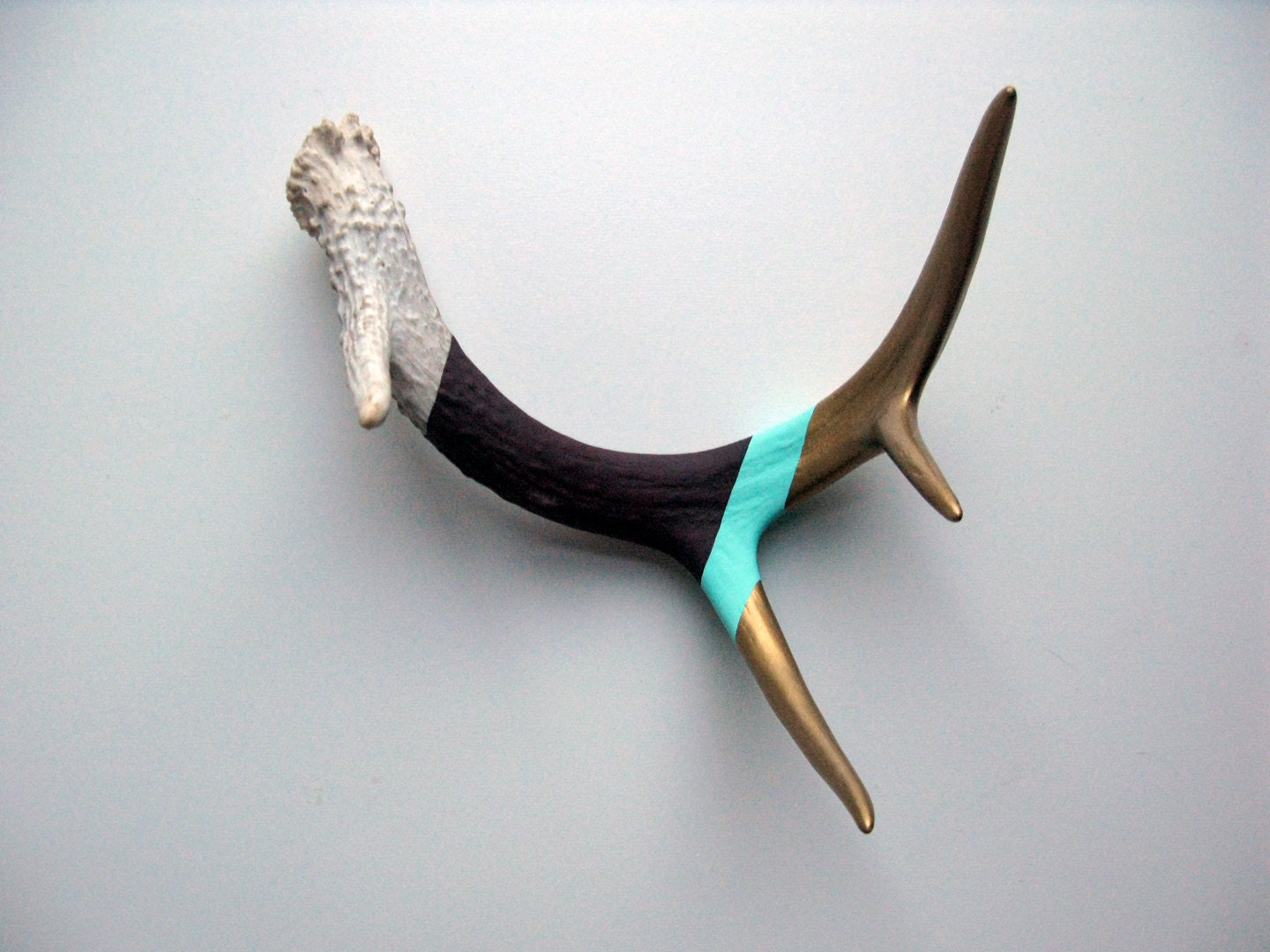 Gold, Aqua & Purple Striped Painted Antler - Small - MadeByCassandraSmith