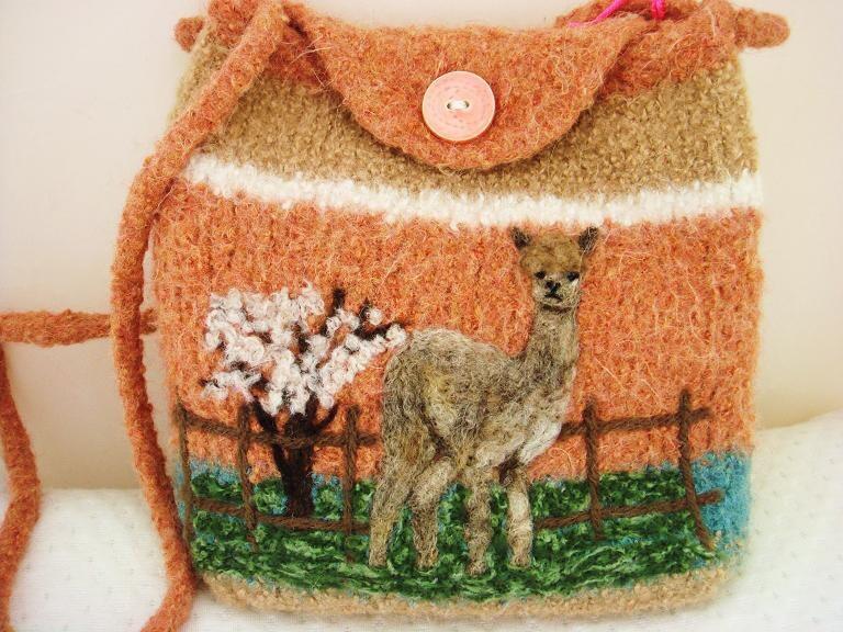 Alpaca hypoallergenic,camel,rust felted purse