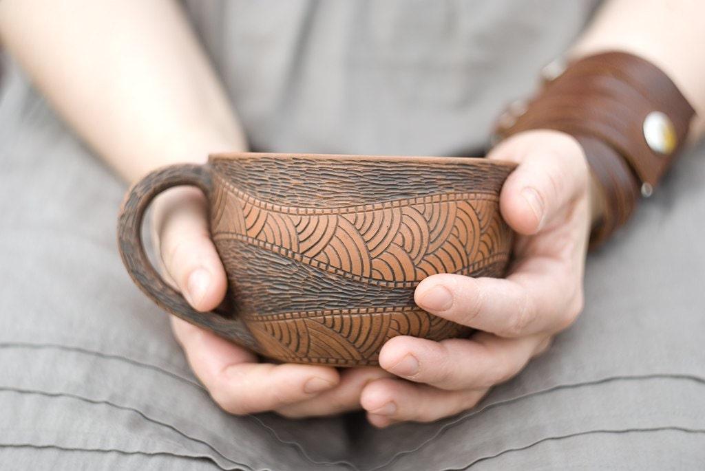 Hand Made Ceramic Eco-Friendly Tea Cup Hand Carved - warmceramics