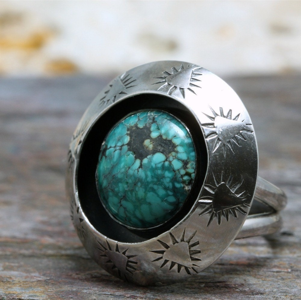 Turquoise and Sterling Shadowbox Ring