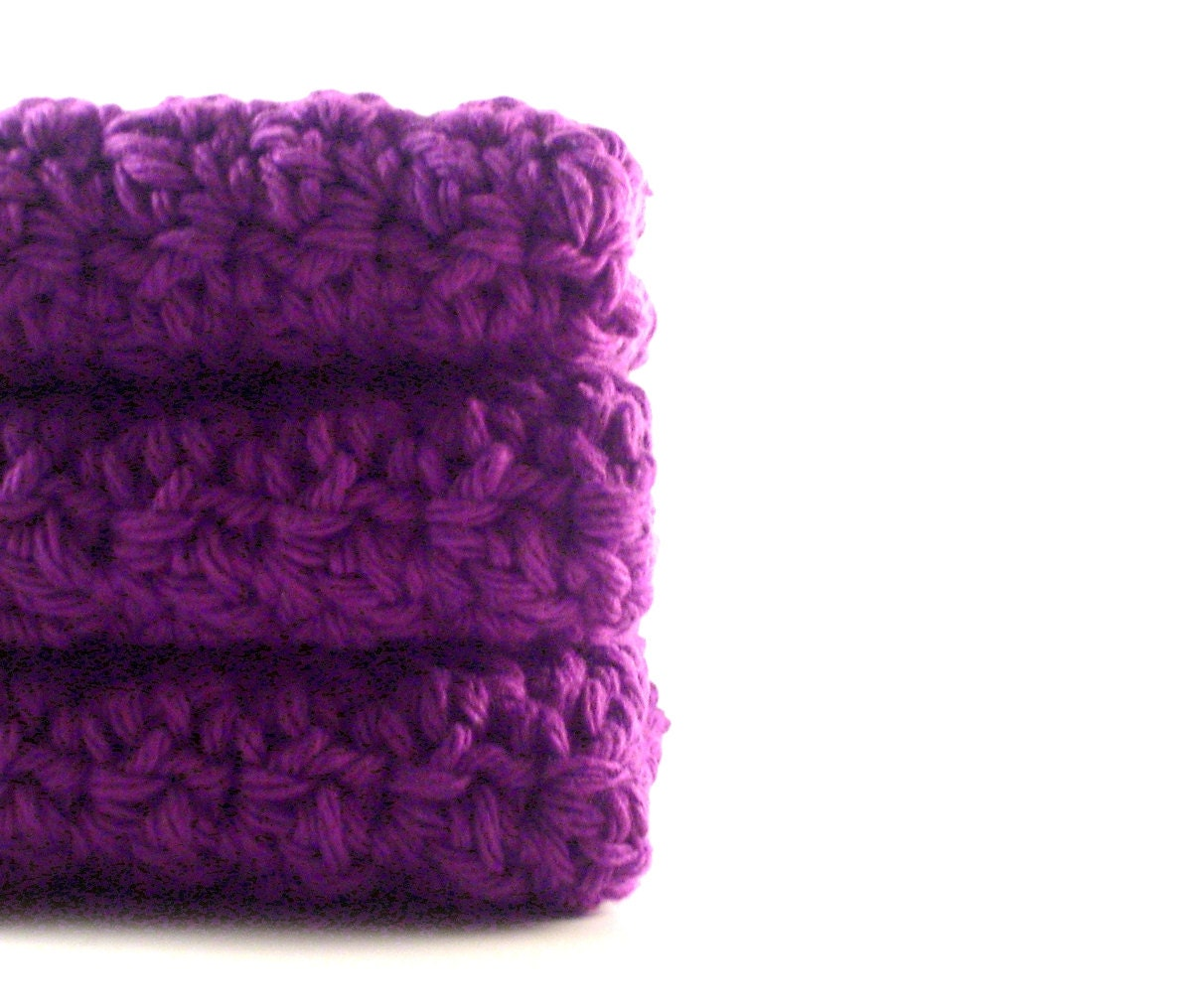 Cotton Crochet Dishcloths Washcloths Radiant Orchid Purple Set of 3 crocheted rags dish scrubbies - PrairieLoops
