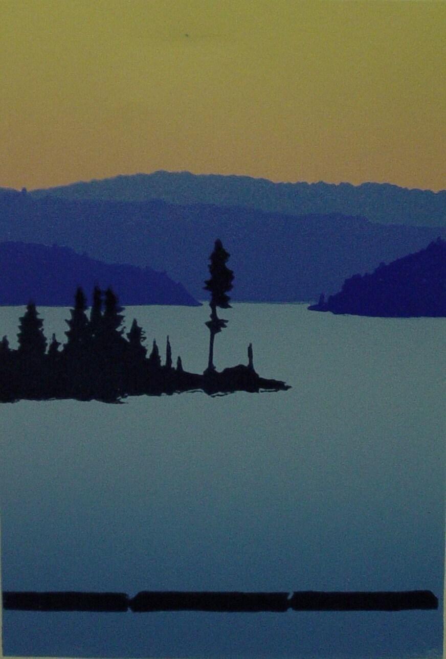 Lake Coeur d Alene (original blockprint)