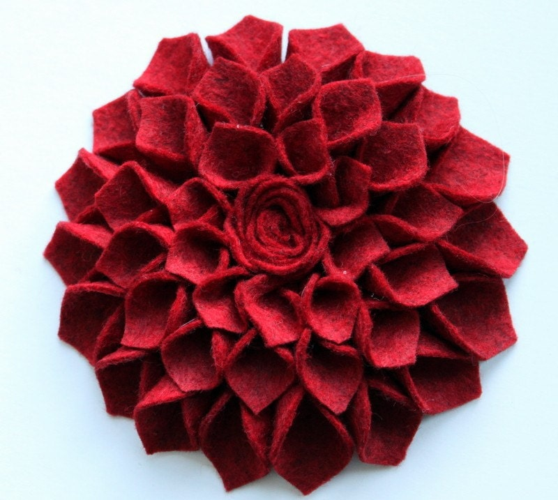 Deep Red Large Dahlia Headband- deep red wool felt flower headband