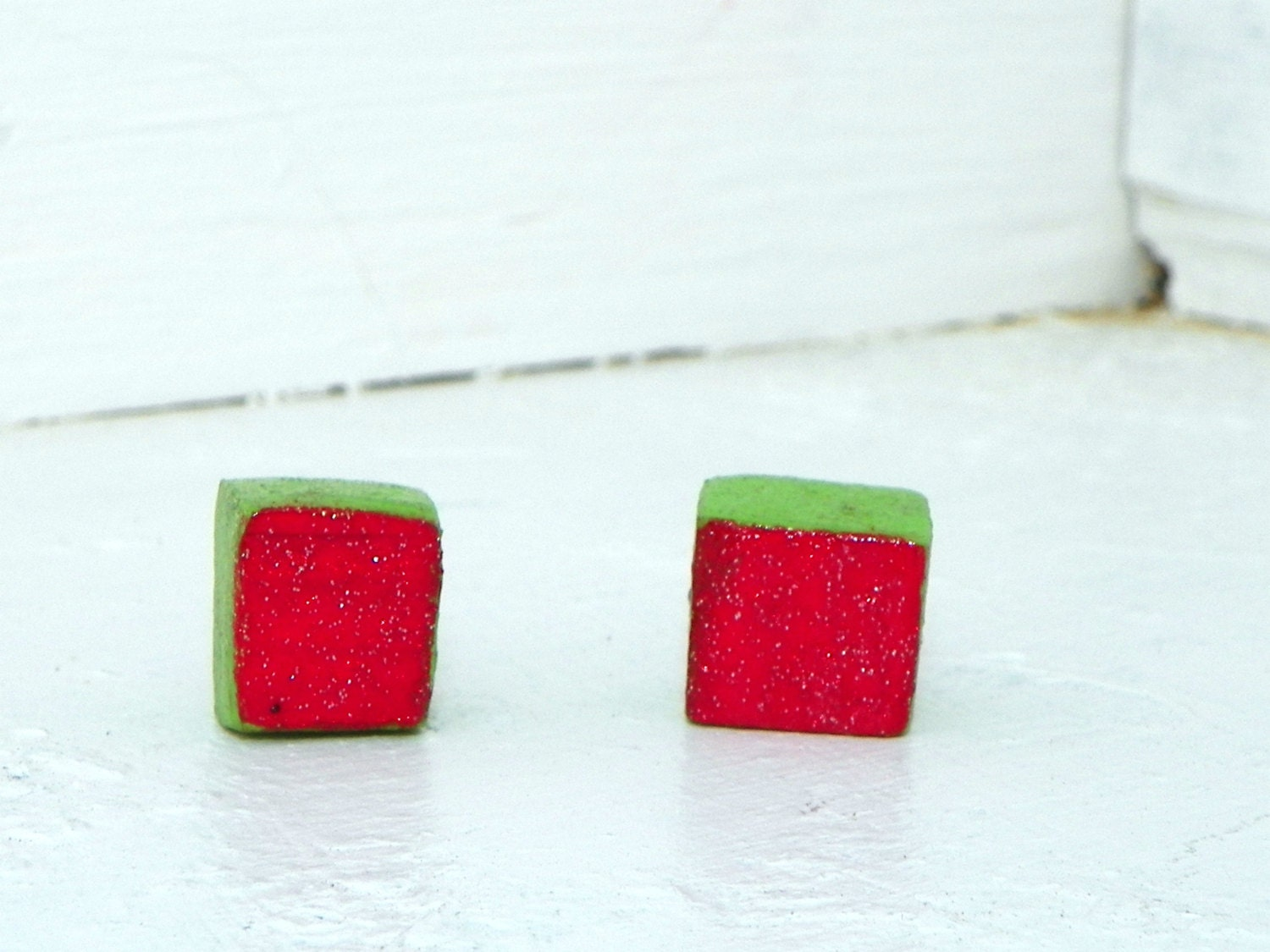 One of a kind Christmas Earrings Red Green Squares Recycled Wood Sparkly Handmade - FeathandKee