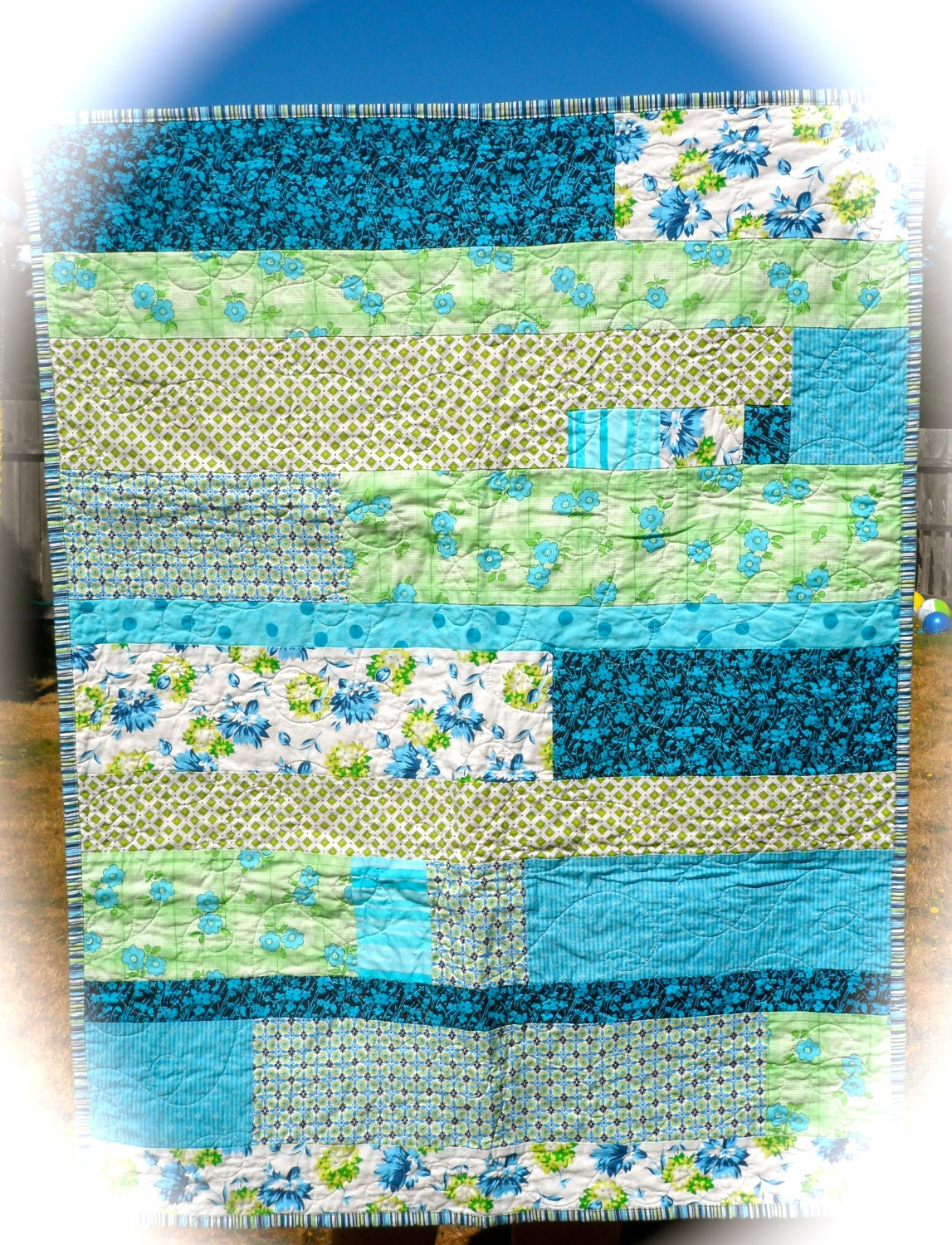"Ocean Breeze Strip Pieced Baby Boy Quilt - 33.5"" x 43"" - QuiltingWhimsy"