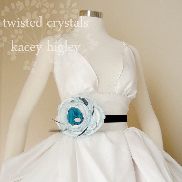 Large ice blue, innocent ivory, Italian lace and exotic peacock flower for a belt or sash filled with feathers and natural druzy.  Perfect for your wedding, clothing and life.