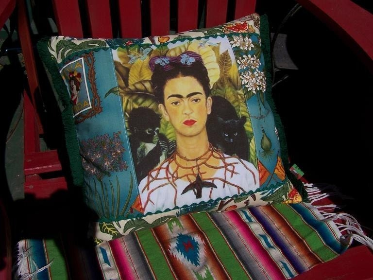 FRIDA Kahlo Mexican Pillow Monkey Black Cat Thorn Bird