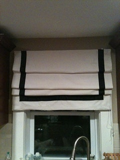 Flat Roman Shade With Ribbon Trim By Windowsbymelissa On Etsy