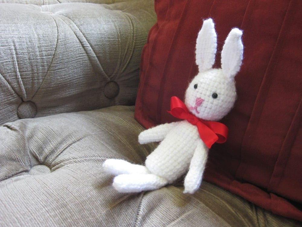 Amigurumi Rabbit toy with red bow