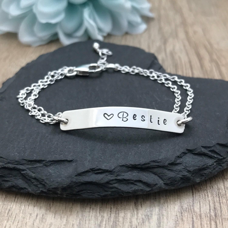 Personalised Bracelet Silver Bar Bracelet Sterling Silver Hand Stamped Bracelet