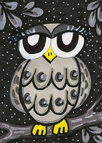 Funny Owl Print, Grey Owl Art, Whimsical Owl, Owl Wall Decor, Kids Wall Art 8 x 10 by Paula DiLeo - AGirlAnOwlAndACat