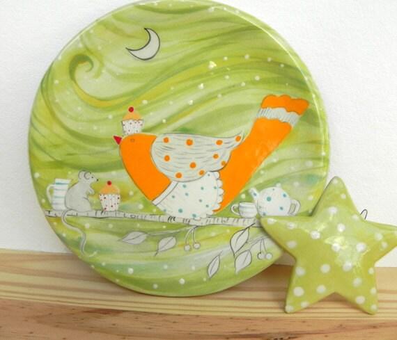 Cupcake Plate, Bird Plate, Sandwich Plate,