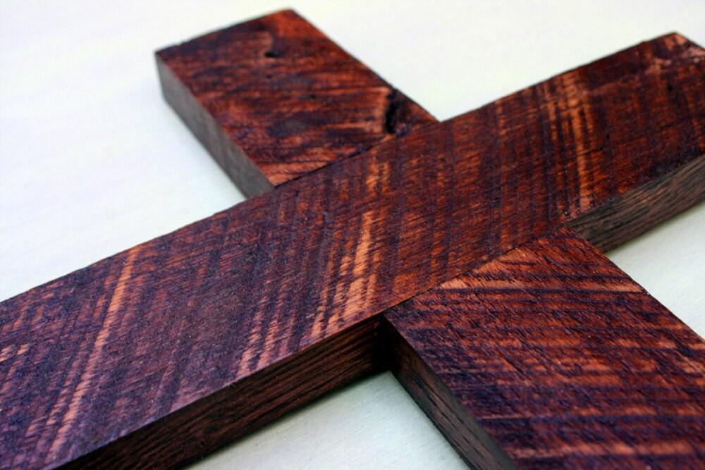 Rustic Wood Cross, Dark Brown Finish, 11 x 17 - Handmade - natureinspiredcrafts