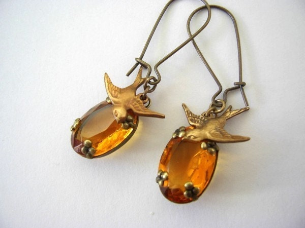Beautiful Topaz Brass Bird Earrings