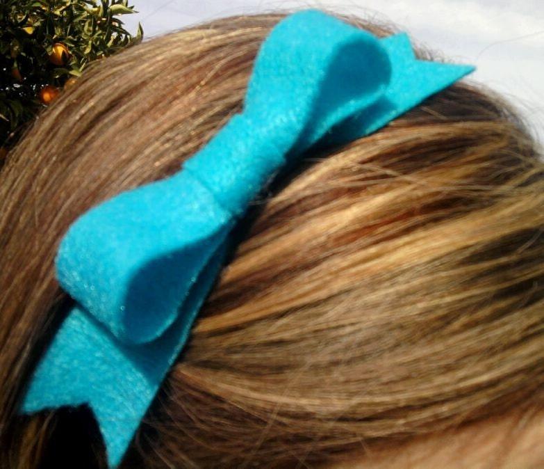 Felt Bow Headband (turquoise)