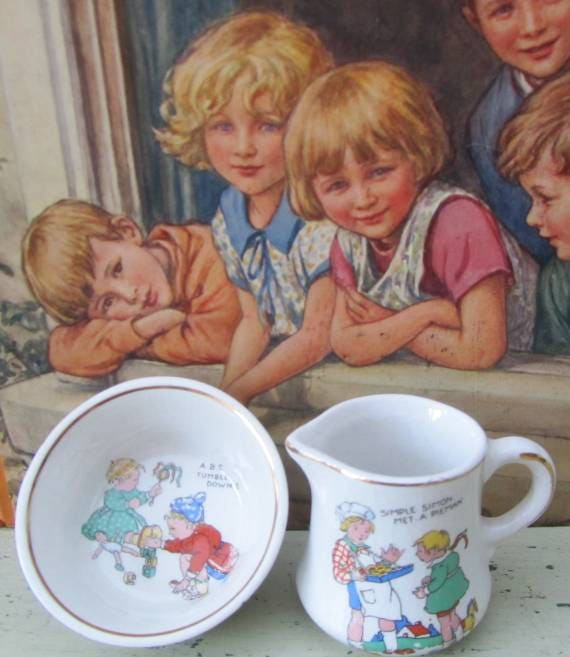 A Little Cream With Your Tea  Vintage Nursery Rhyme Toy China Milk Jug  Sugar Bowl  1920s