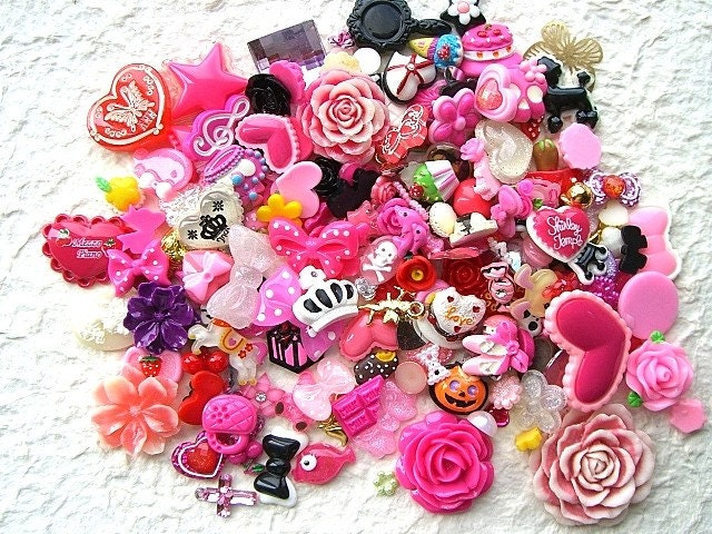 Japanese  Cabochons  HUGE Set Mix 200 Cute Kawaii