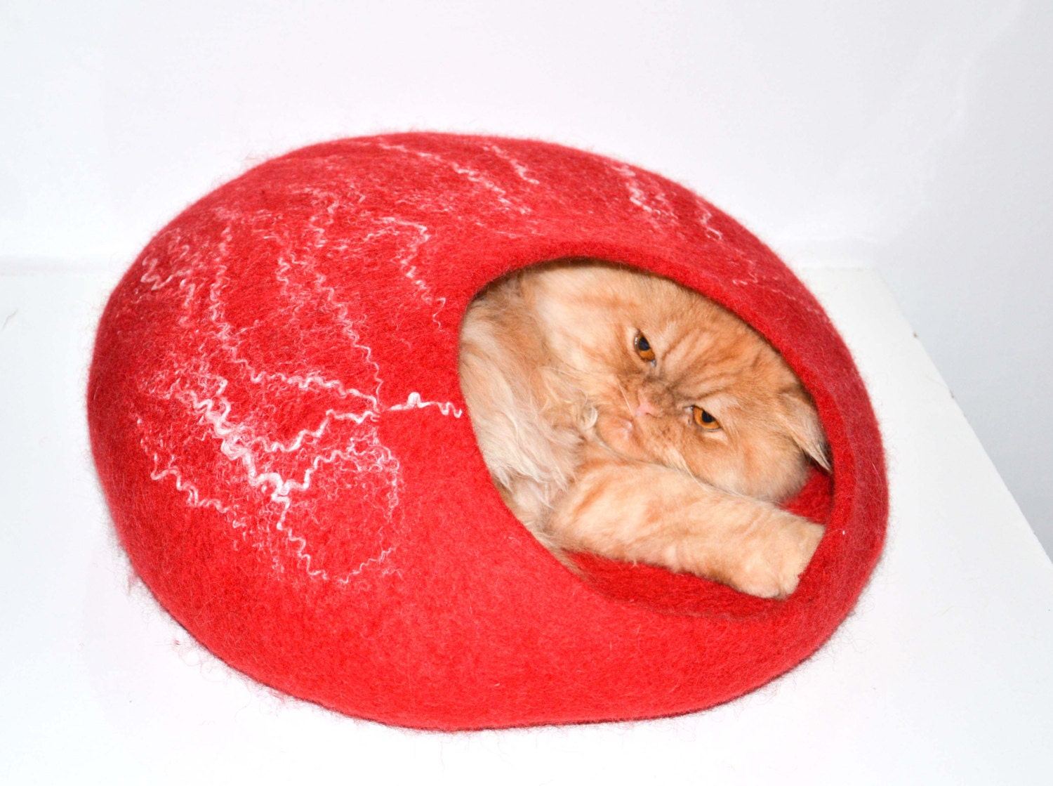 felted wool house for cat, pets bed , cats cave red handmade READY TO SHIP - Storow