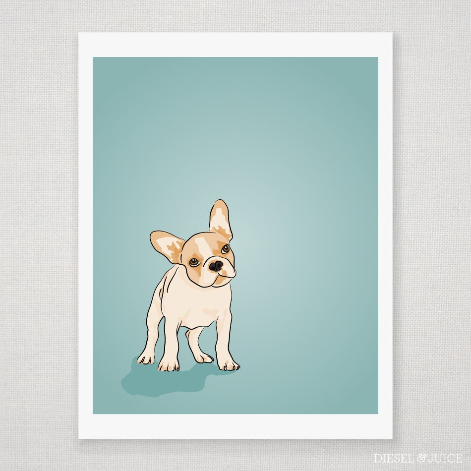 French Bulldog Puppy Portrait - Blue Digitally Illustrated - 8 x 10 Archival Matte Print