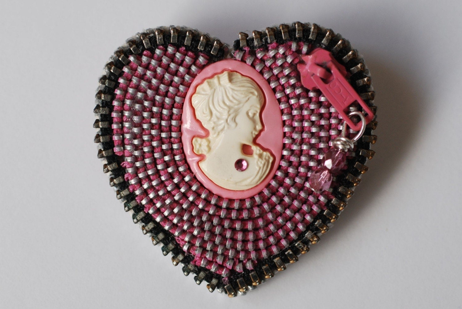 Cameo in Pink - Lovely Pink and Black Vintage Zipper Lapel Pin