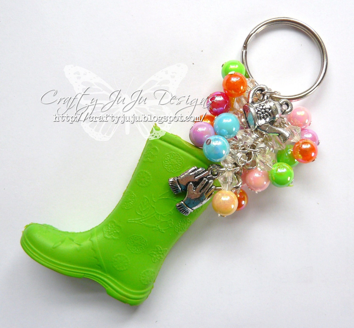 Wellington Boot Beaded Keyring