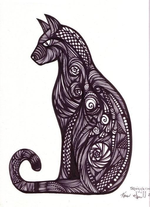 Squigglecat Crazy Cat Original Abstract Art By KarenGorrellArt