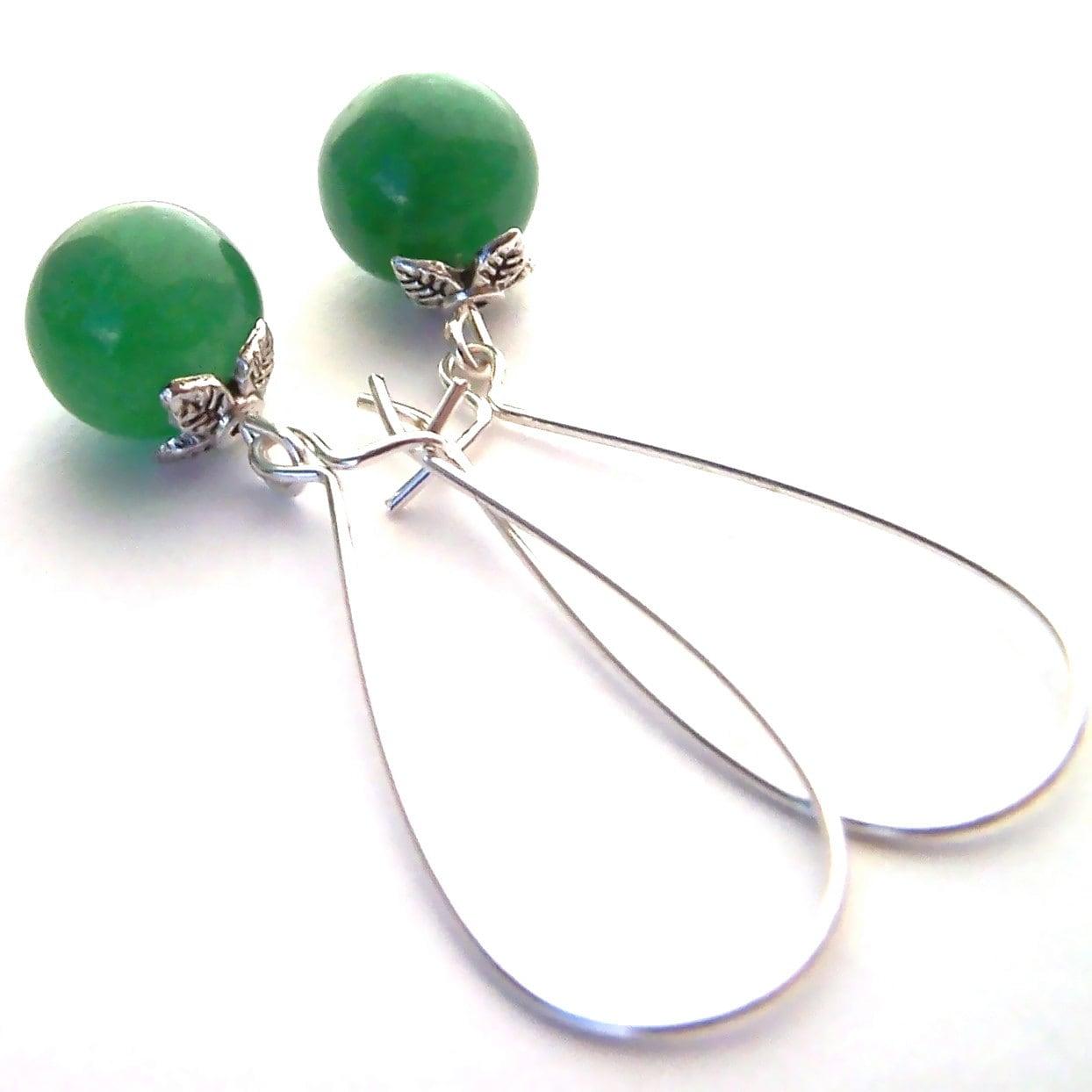 Green Drop Earrings, Spring Jewelry, Jade or Kelly Green, Glass Bead Long Dangle Earrings