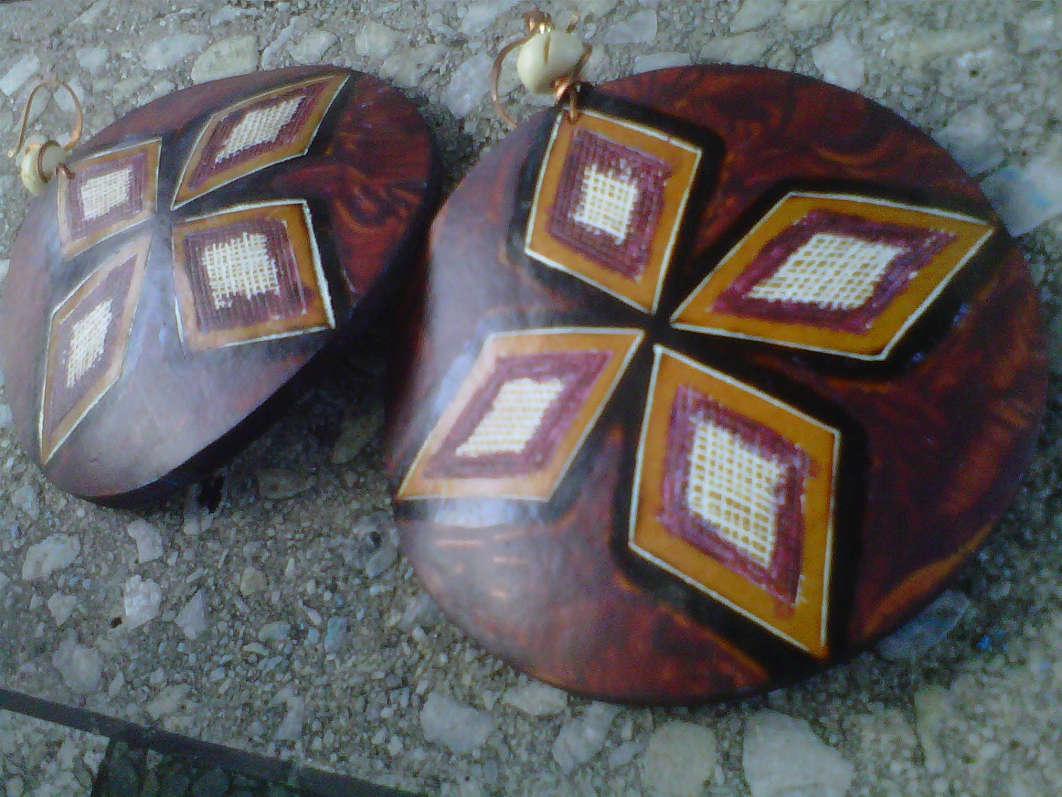 Handpainted Coconut Shell Earrings