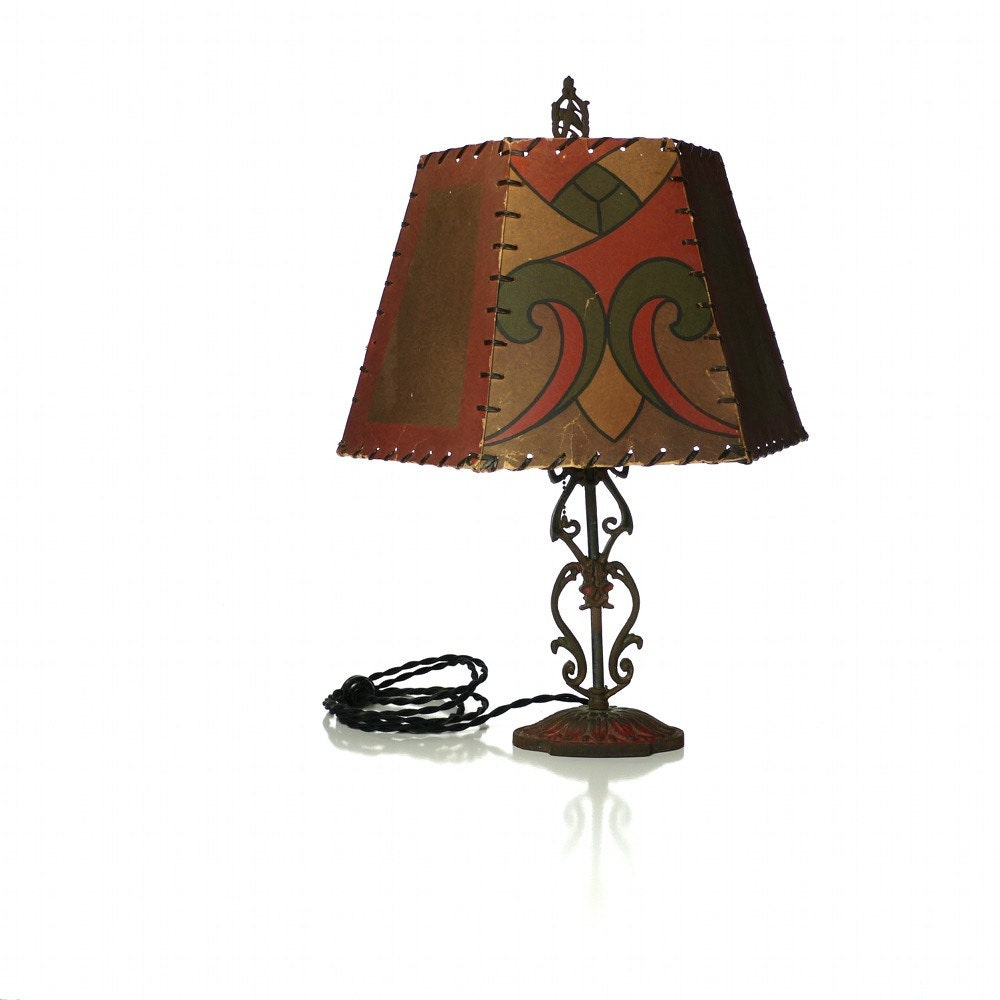 Table Lamp Antique Cast Iron Light With Arts Amp By