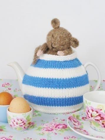Cornish blue striped tea cosy with dormouse