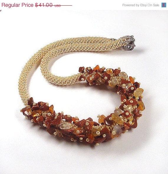 SALE Beads crochet rope necklace beige with carnelian- statement necklaces- beaded jewelry- bib necklace- beadwork - RebekeJewelryShop