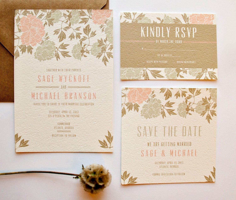 peony wedding invitation suite - 28 images - coral peony wedding ...