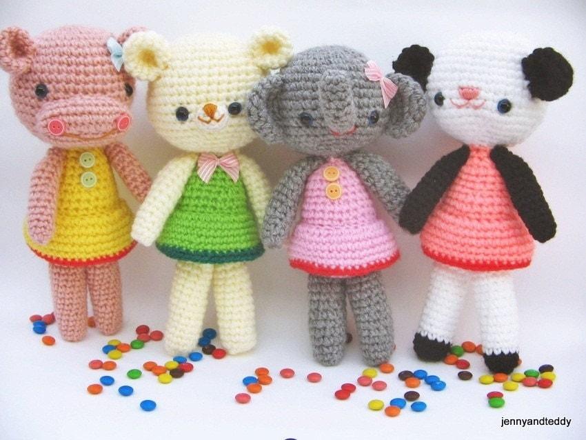 pdf amigurumi crochet pattern teddy bear,panda, hippo, elephant ,welcome to sell the finished item