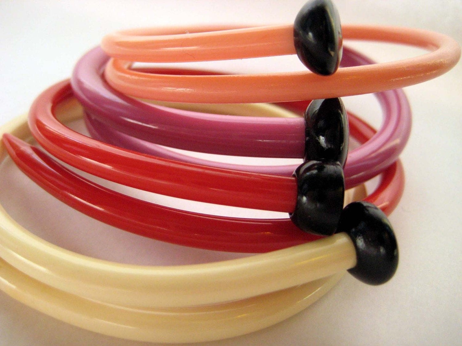 Repurposed / Upcycled vintage knitting needle bracelets--Set of 4 -Lipstick- LARGE