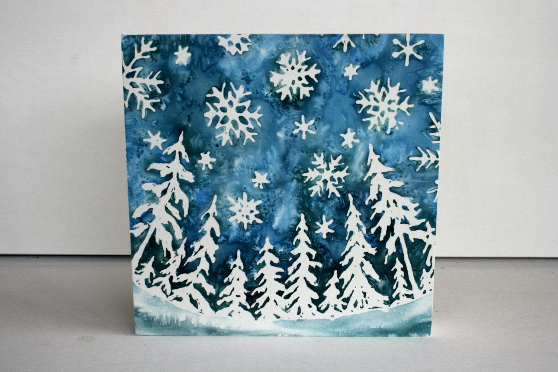 Snowy Skies  - Original Silk Painting  on Wood 10 X 10 - TwigsandBlossoms