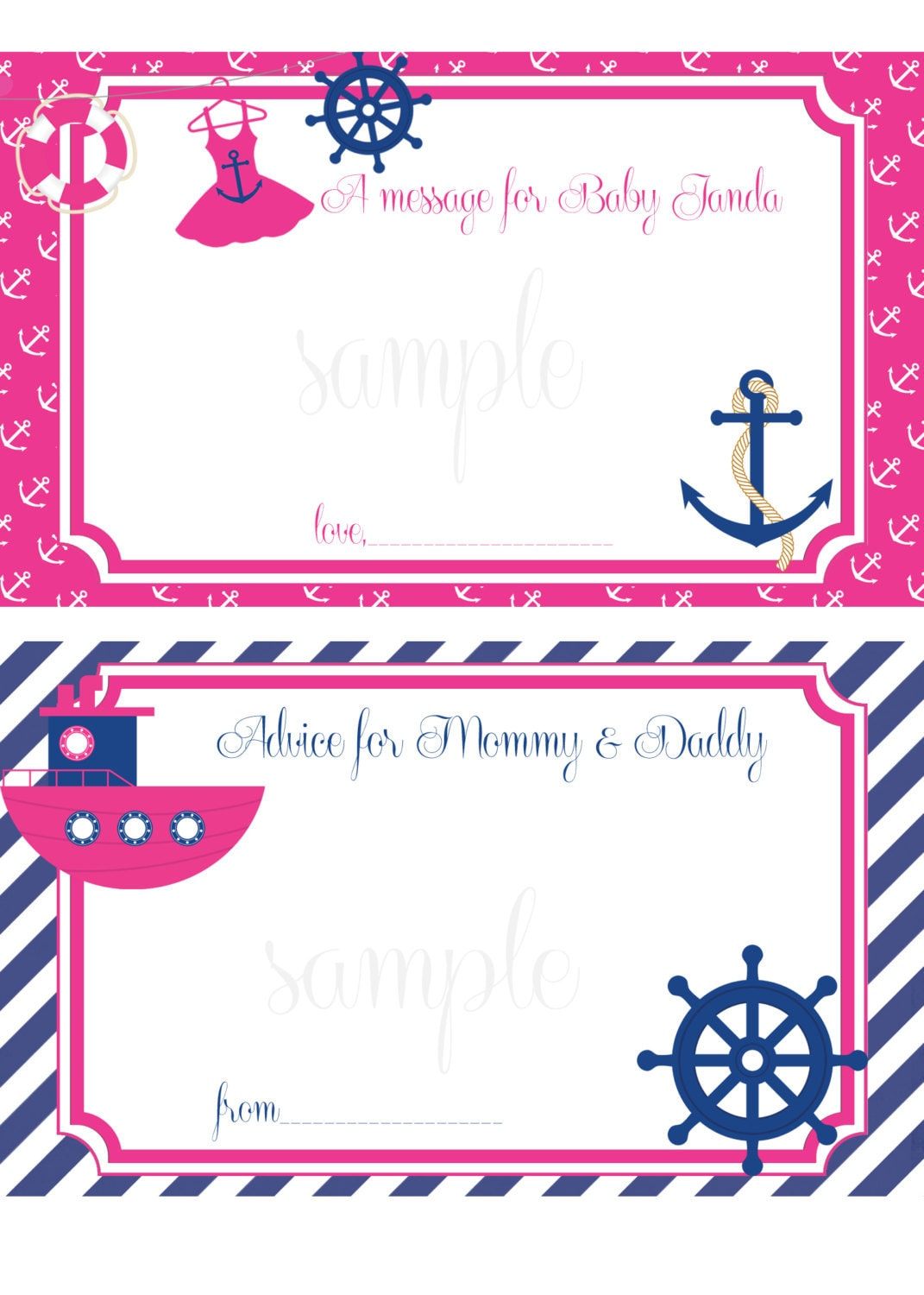 nautical baby shower message advice for mom dad cards printable