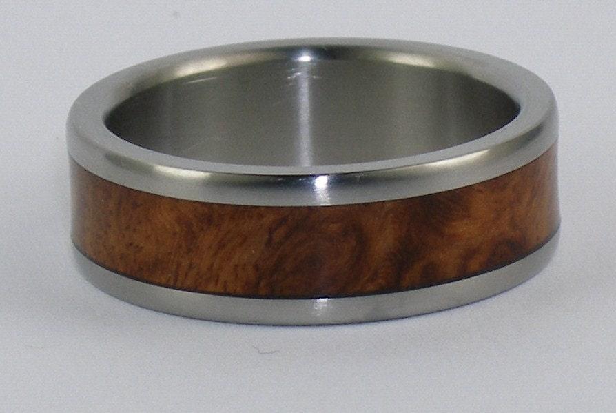 Hawaii Titanium Ring Style W1F Amboina Wood inlayed Titanium Ring