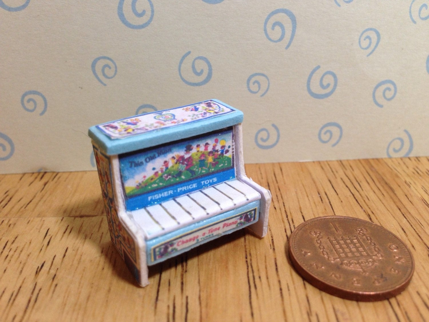 Hand made Dolls house Miniature replica vintage fisher price change a tune piano 112 scale