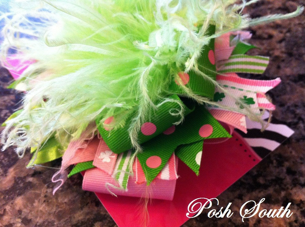 Pink Leprechaun Funky Boutique Bow