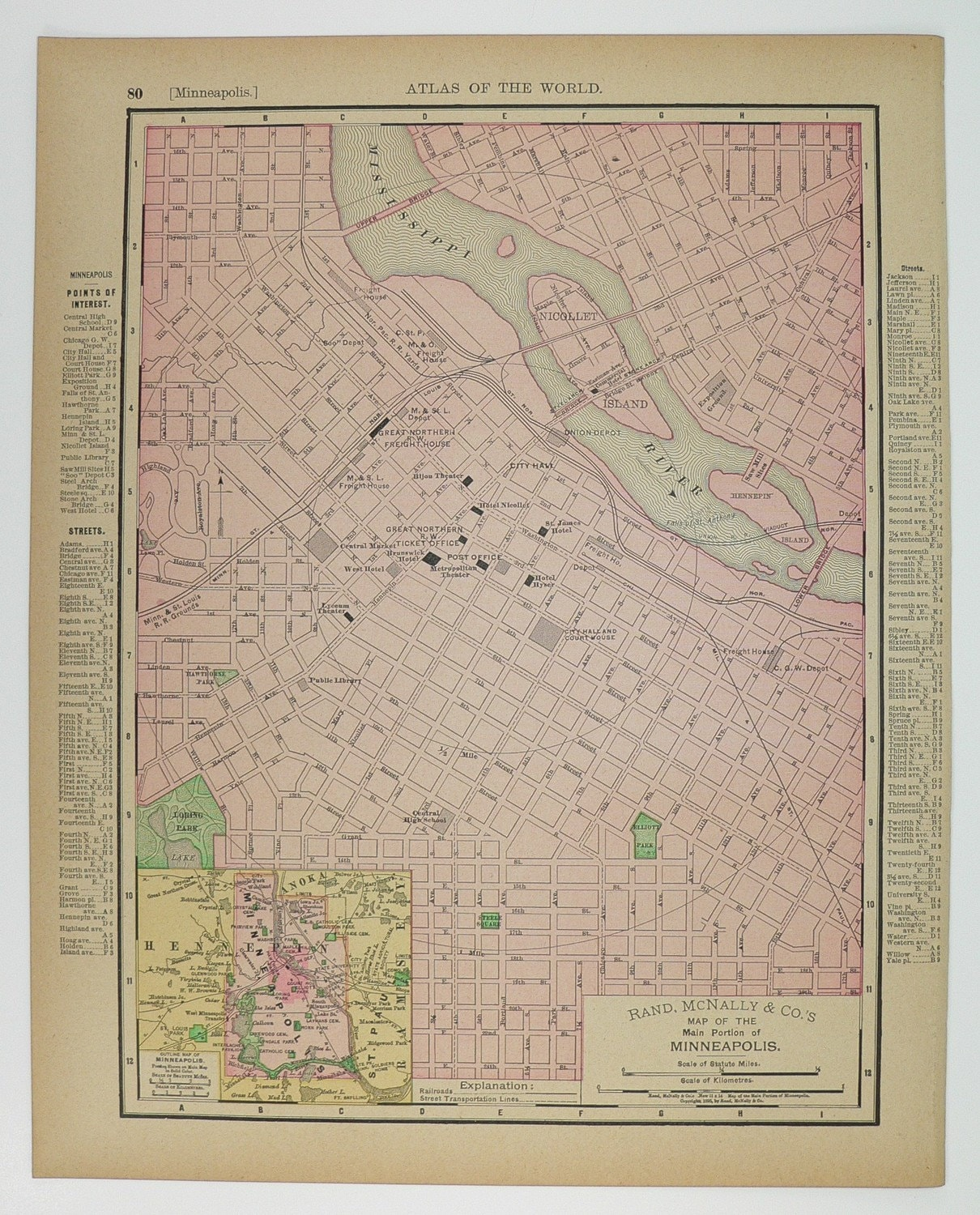 St Paul and Minnesapolis Minnesota 1897 Antique City Street Map