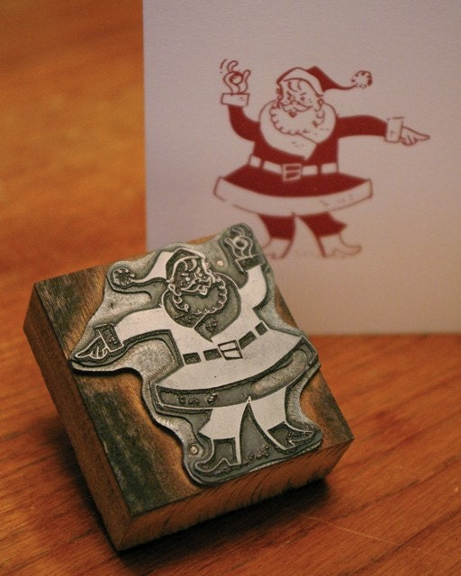 Holiday Note Card Set (5) - Letterpress Santa