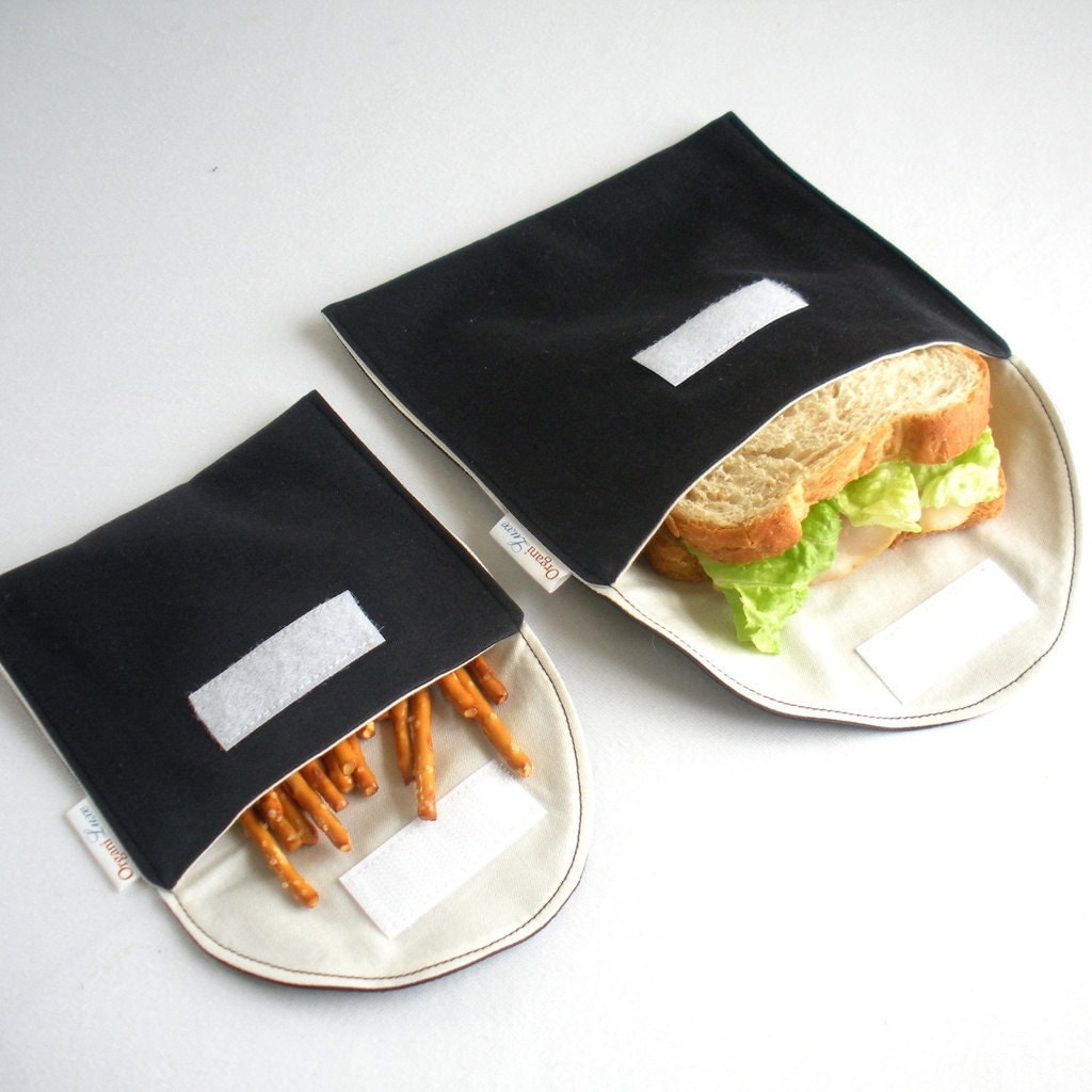 Eco Friendly Sandwich and Snack Bags, Set of 2 - Organic Cotton, Reusable - Black --- NON plastic - OrganiLuxe