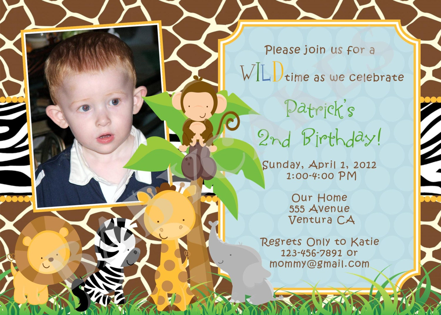 Safari Jungle Animals Birthday Party Invitation Photo  - DIY Print Your Own - Matching Party Printables also available