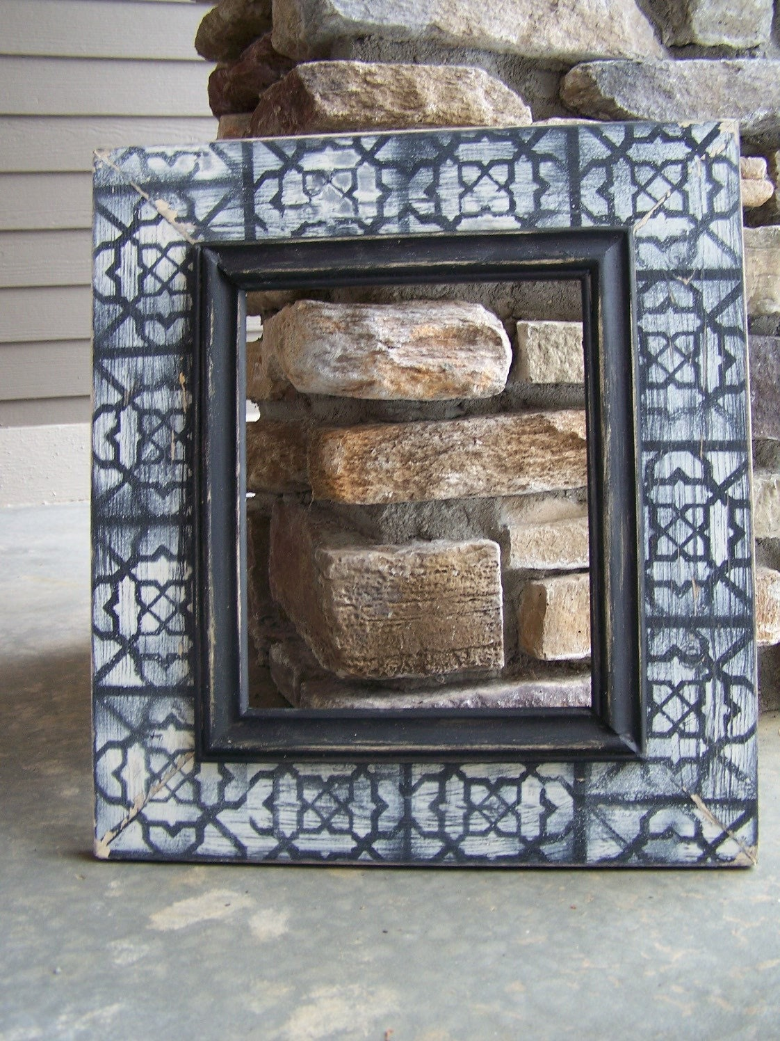 Black and white distressed shabby chic picture frame 8x10