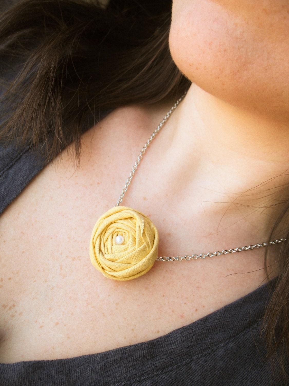 Le Petit in Sunshine fabric flower bib necklace