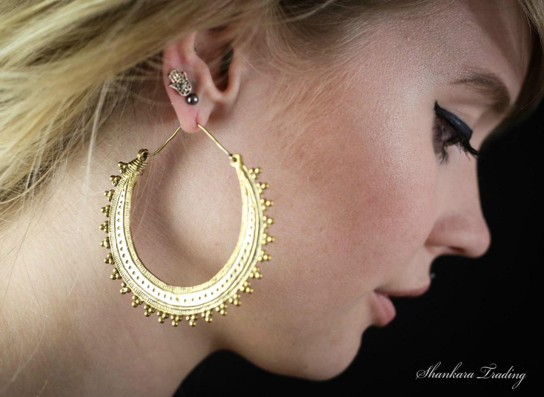 Tribal Brass Earrings Brass Hoop Earrings Gypsy Hoop Earrings Brass Tribal Earrings Ethnic Earrings Belly Dance Jewelry Boho Earrings